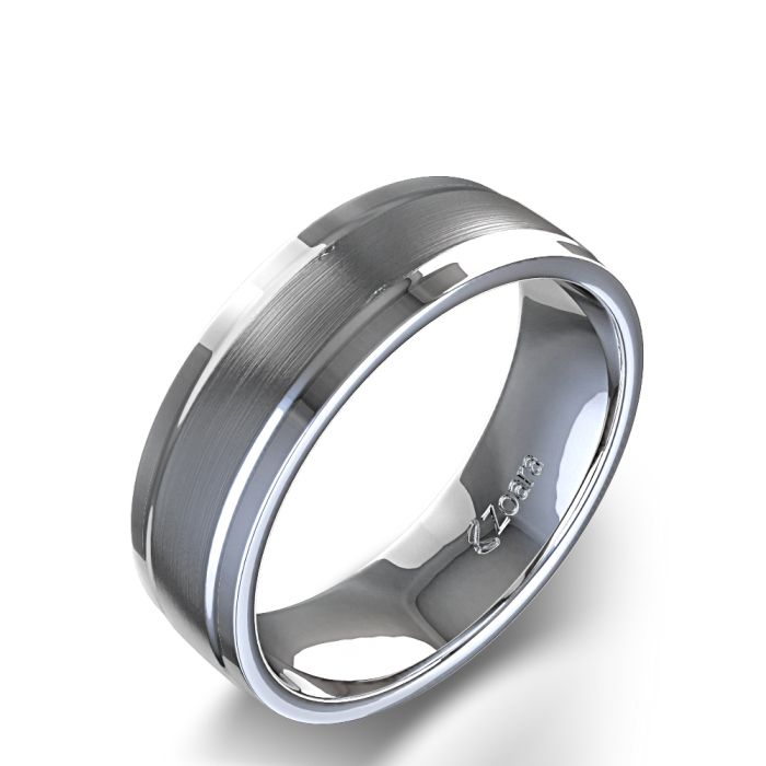 Satin Finish Men's Wedding Ring in Palladium