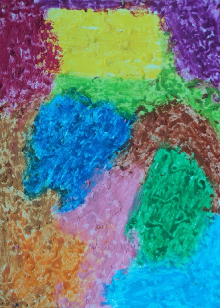 New art for sale! ACEO Portrait Oil Pastel Painting Abstract Folk Outsider Autistic Naive Art #OutsiderArt #artists