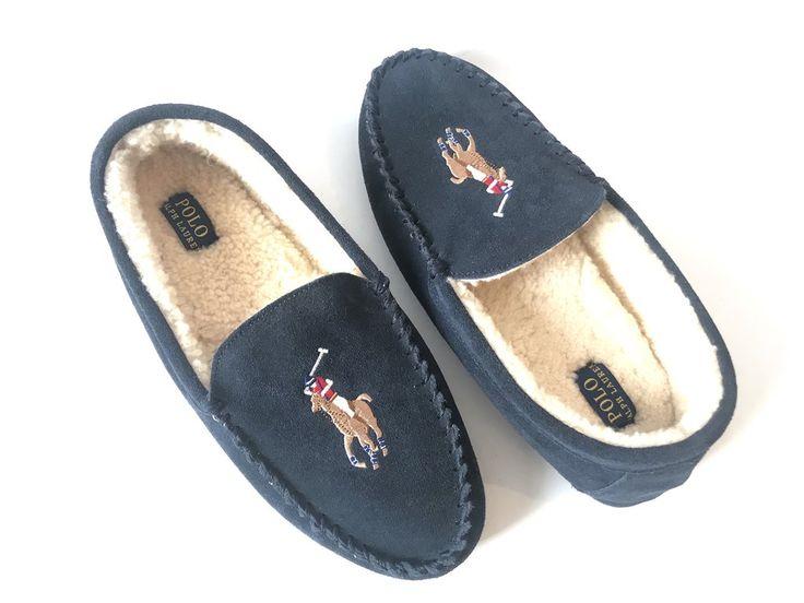 POLO Ralph Lauren Men's Markel Moccasin Sheepskin Slippers | Brand New |