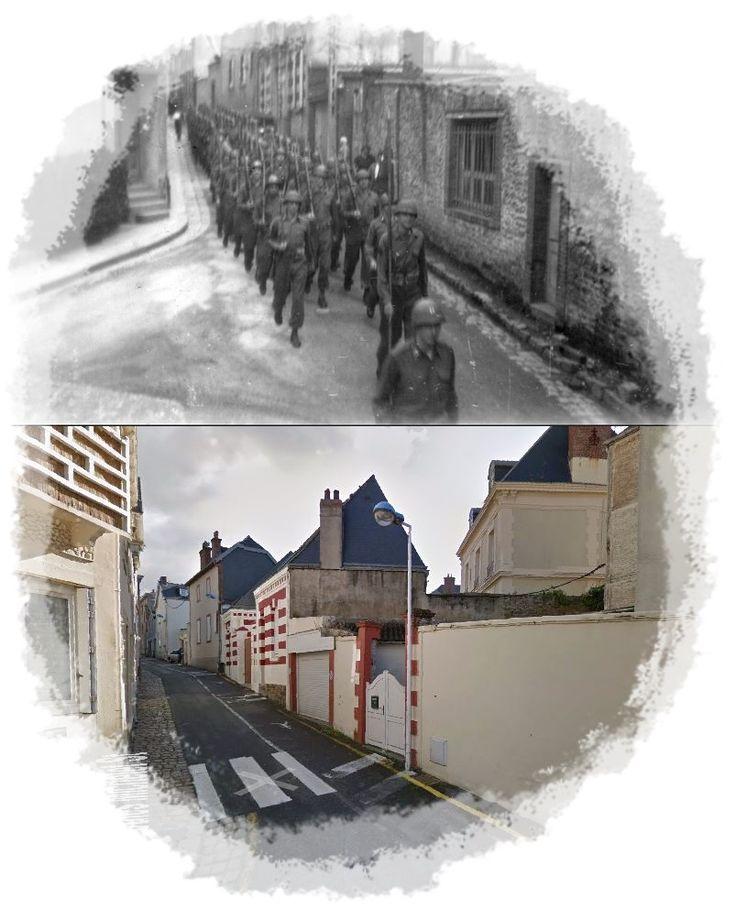 Sfilata dei soldati americani in rue Jules Michelet, Granville  #Maggio 1945