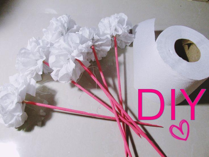 DIY/Faça você mesma : Flor feita com papel higiênico   Dica de decoração