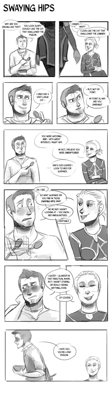 a.k.a. Alistair get dat booty. a.k.a. Wynne is a troll Love Alistair, love Wynne. Dragon Age Origins banter is fantastic. I'm thinking of doing Shale and Zevran at some point. How does one draw han...