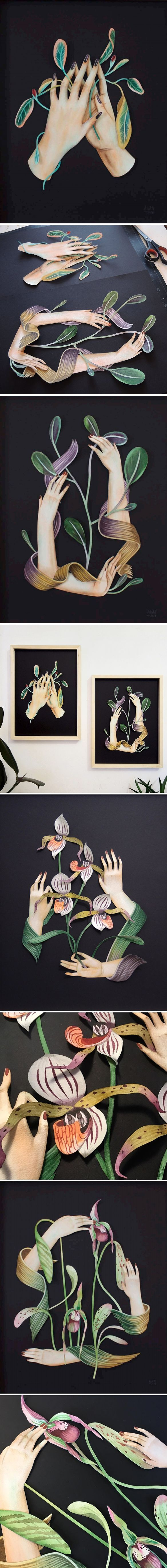 painted paper-cutting by andrea wan
