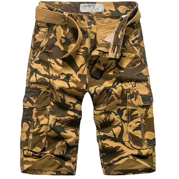 Men Casual Shorts Camouflage Multi-pocket Shorts Men Canvas Denim Loose Shorts Knee length Plus Size with Free Belt Shorts Men