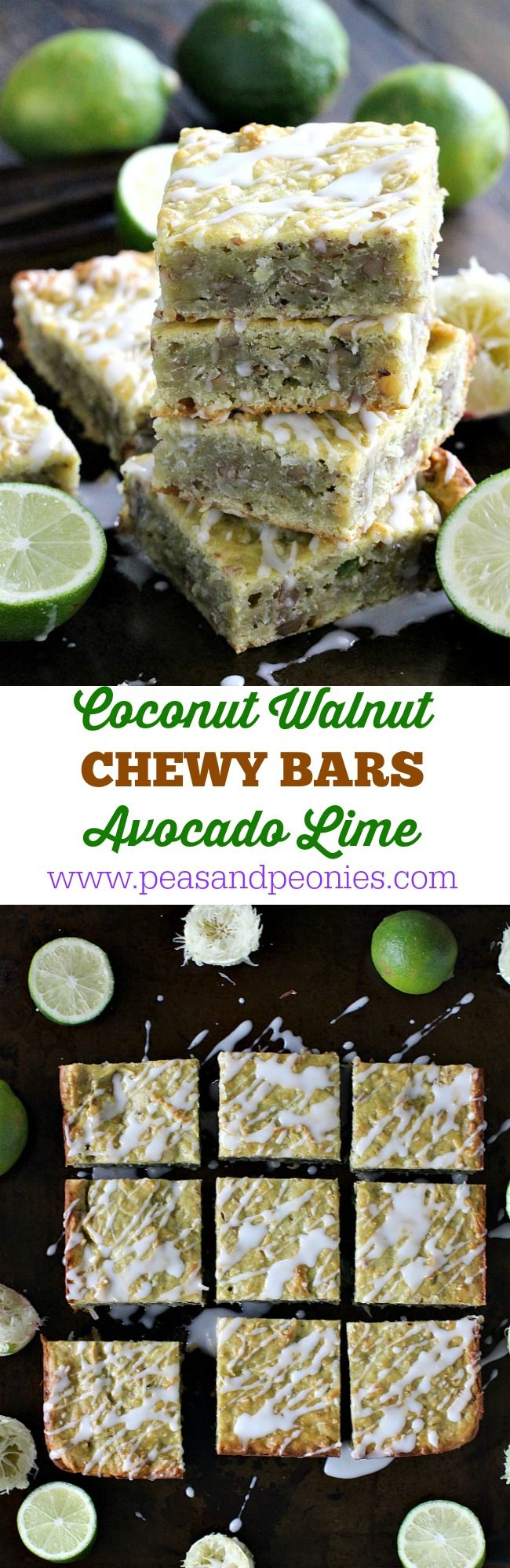 Coconut Avocado Lime Bars are sweet, chewy, dense and refreshing. Loaded with citrusy lime zest, coconut flakes, avocado and walnuts. - Peas and Peonies