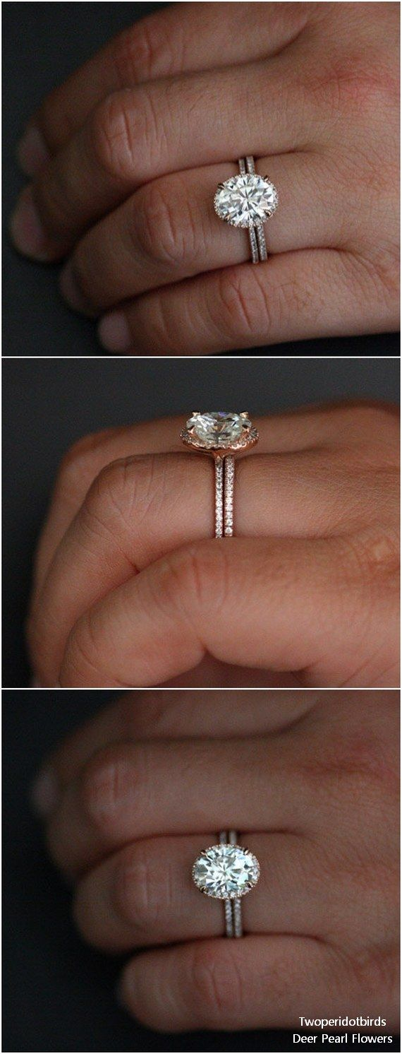 14k Rose Gold Forever Classic Moissanite Oval 10x8mm and Diamond Wedding Ring #weddingideas #rings #weddings ❤️ http://www.deerpearlflowers.com/engagement-rings-from-twoperidotbirds/