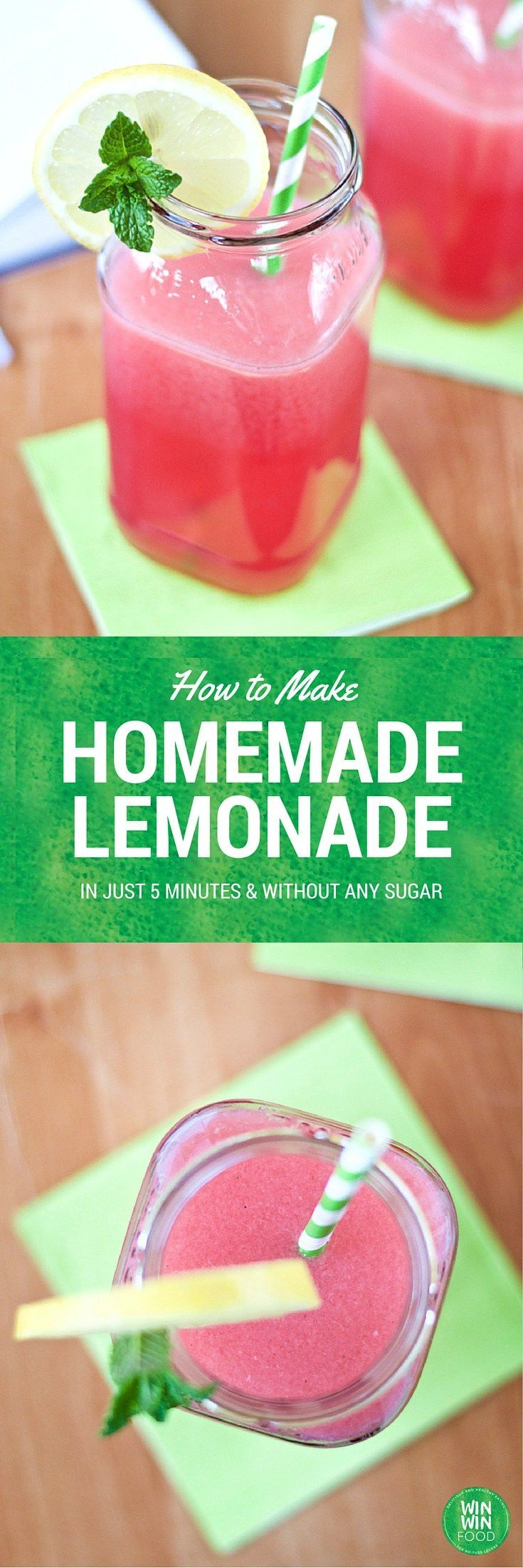 How to Make Homemade Lemonade| WIN-WINFOOD.com #healthy #vegan #glutenfree…