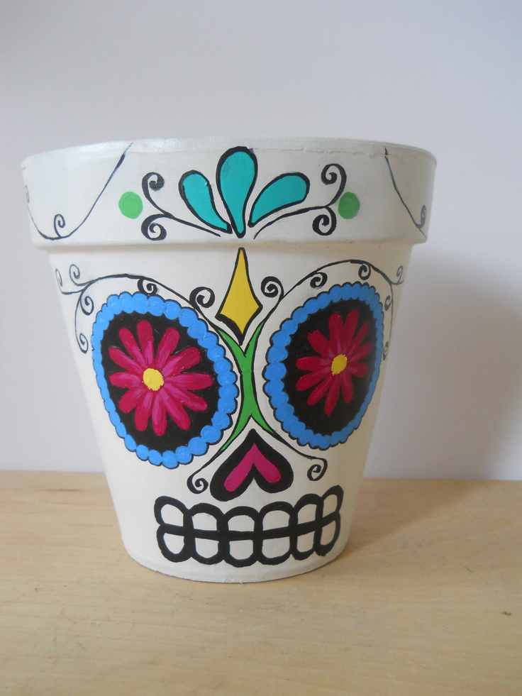 Day of the Dead sugar skull Flower Pot Halloween Dia by GingerPots