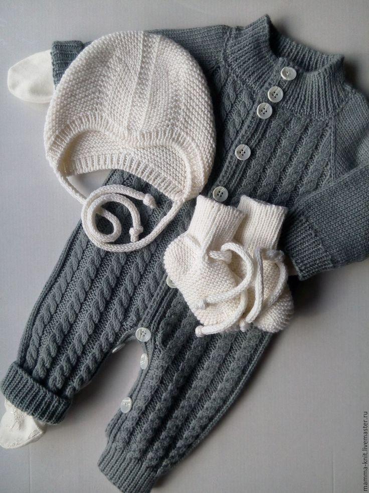 Купить Вязаный комплект одежды для новорожденного мальчика - комбинезон для малыша, комбинезон для мальчика, одежда для новорожденных