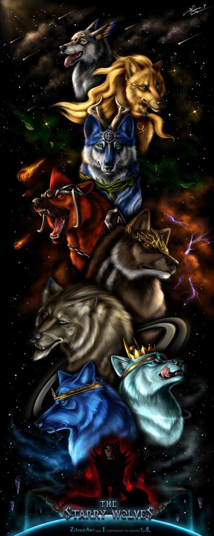 The Starry Wolves - Scroll by ZilvenArt.deviantart.com on @DeviantArt