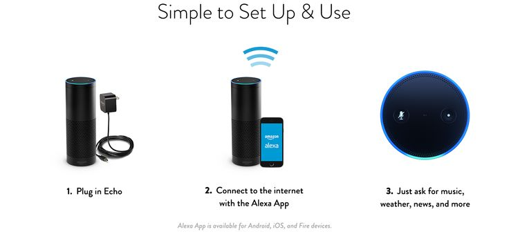 Simple to Set Up & Use - 1. Plug in Echo | 2. Connect to the internet with the Alexa App | 3. Just ask for music, weather, news, and more - Alexa App is available for Android, iOS, and Fire devices.