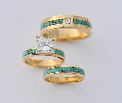 turquoise engagement rings for women 18 karat gold turquoise and diamond wedding set - Turquoise Wedding Rings