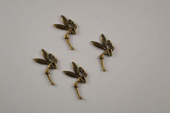 Tinkerbell charm necklace 20 pcs 2.0 X 3.9 cm by charmsandmetal