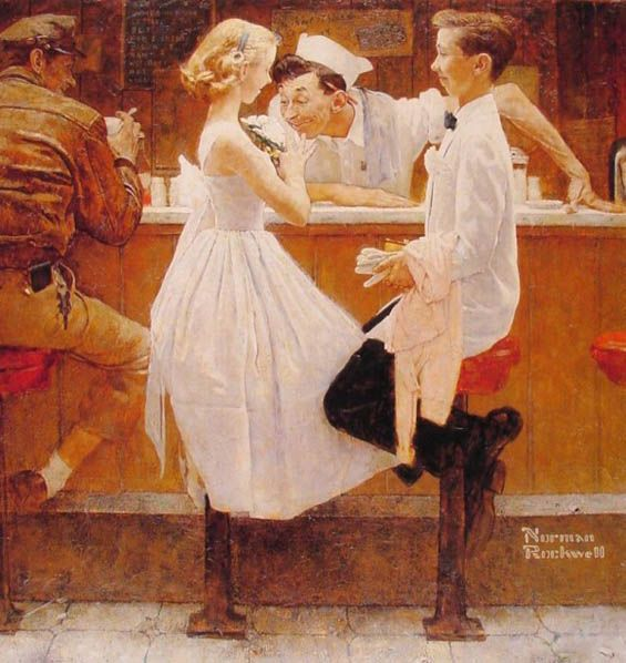 "...  we see Norman Rockwell's use of a bar to capture a wholesome scene of youthful innocence in his painting ""After the Prom"". Description from pinterest.com. I searched for this on bing.com/images"