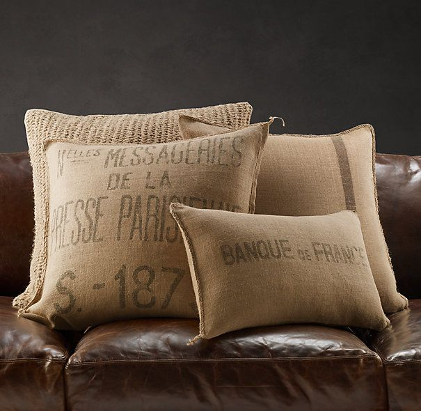 Vintage French Burlap Pillow Covers - Restoration Hardware