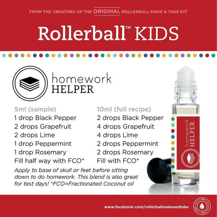 Kids essential oil roller bottle recipe: homework helper!