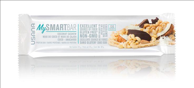 Usana MySmart™ bar. 150 calories or less Whey and/or milk protein, Prebiotic tapioca fiber Sea salt ,Raw cashews, Dry roasted peanuts  #mysmartfoods #usana #mysmartbars