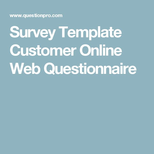 Survey Template Customer Online Web Questionnaire