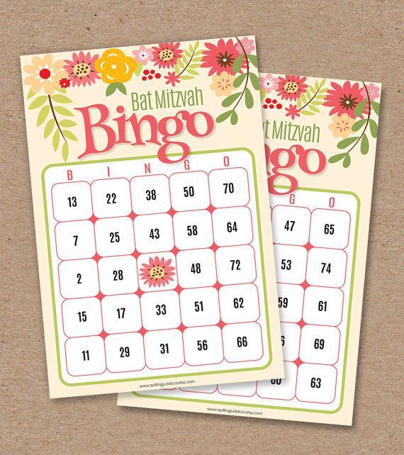 30 Bat Mitzvah Bingo Cards  Bingo Calling Card  by QuillingJudaica