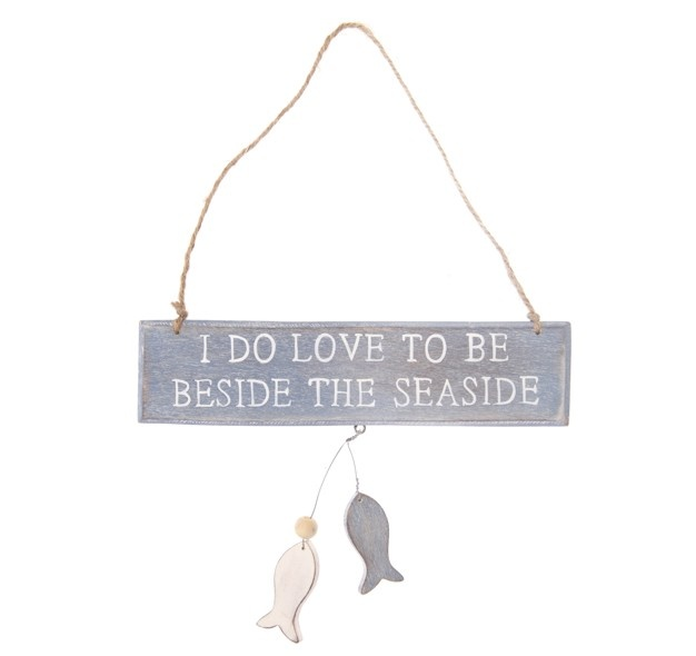 http://www.sassandbelle.co.uk/'I Do Love To Be Beside the Seaside' Sign in Blue