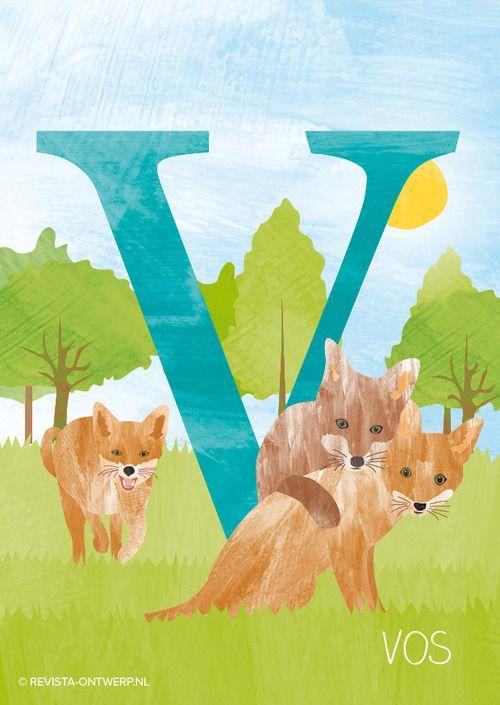 De V is van vos. Hij eet bijna alles en kan veel soorten geluiden maken.