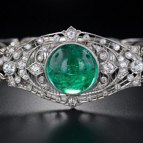 Exceptional Edwardian Cabochon Emerald and Diamond Bracelet