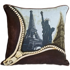 London-Paris-New York Cushion Cover for kids by Swayam