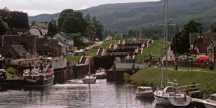 Fort Augustus and the Caledonian Canal and locks, Highlands.  Done the locks, down and back up!  Had the best Salmon here, freshly caught that morning.