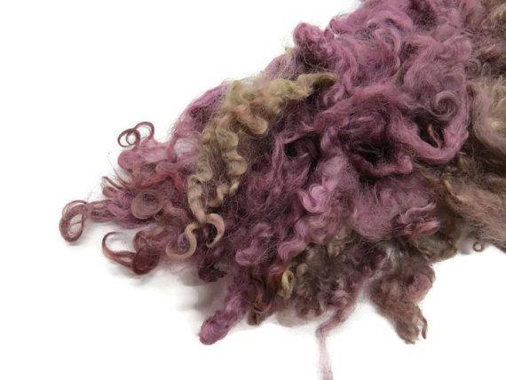 1oz,Prime Wensleydale wool locks , ( Violet, Taupe )
