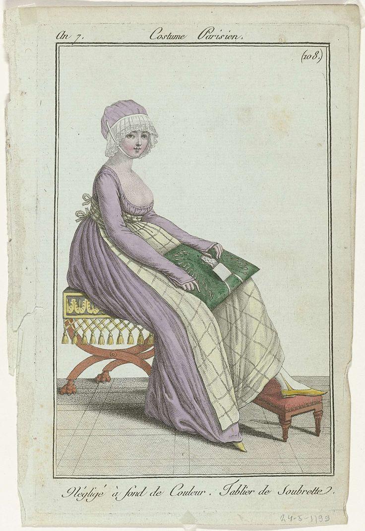 Journal des Dames et des Modes, Costume Parisien, 24 mai 1799, An 7, (108(bis)) : Négligé à fond de Couleur..., Anonymous, 1799