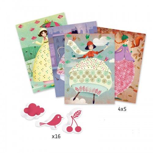 DJECO Детски комплект за оцветяване с печати An elegant parade