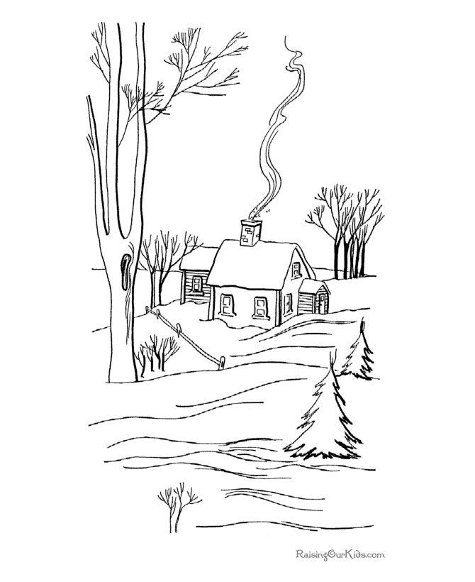 Зимний вечер стих картинка раскраска