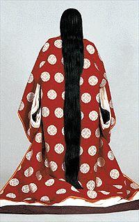 Rear view of Heian period princess wedding kimono