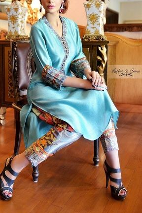 Gorgeous Sky Blue Silk Shalwar Shirt