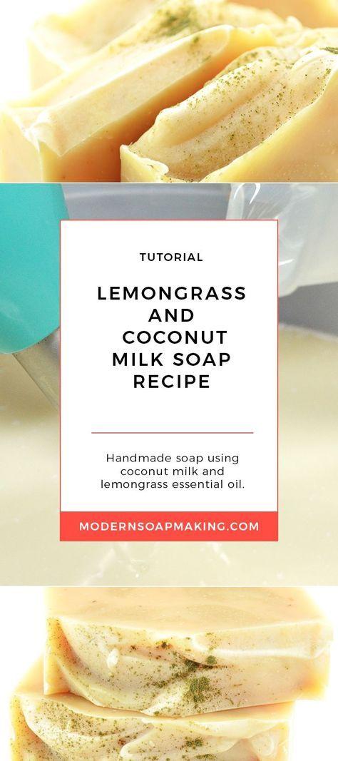 Lemongrass Soap Recipe | Coconut Milk Soap Making | Using Food in Soap | Essential Oils in Soap
