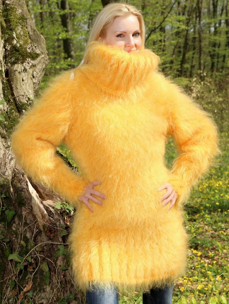 New Hand Knitted Mohair Sweater Fuzzy YELLOW Handmade Thick Dress by SUPERTANYA