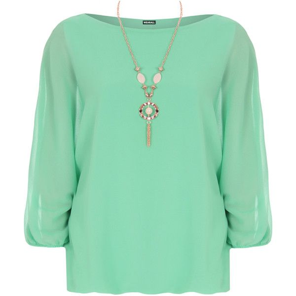 Priya Chiffon Necklace Batwing Top ($23) ❤ liked on Polyvore featuring tops, mint green, long tops, mint top, batwing chiffon top, green chiffon top and bat sleeve tops