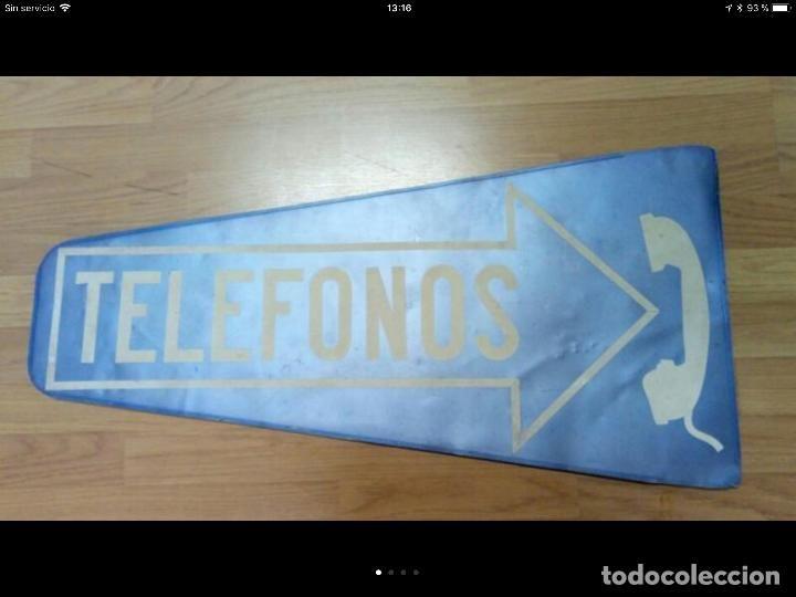 125  Muy antiguo cartel metálico de la CTNE, para señalización de teléfono público - Foto 1