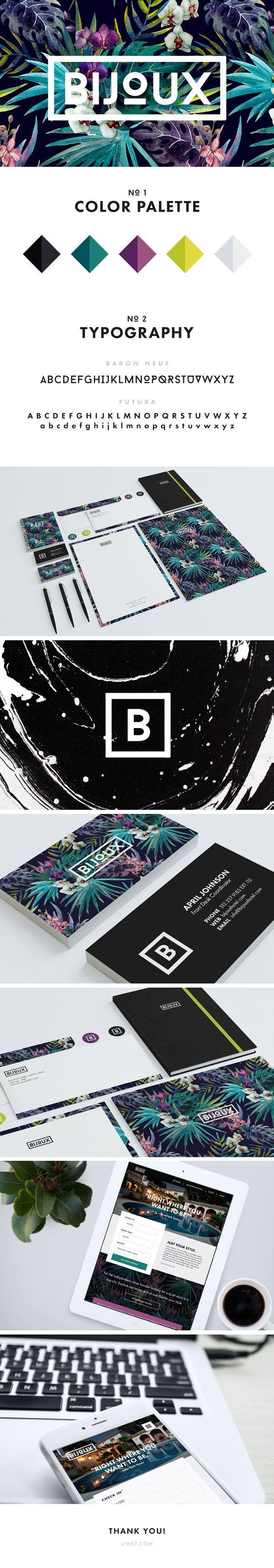 Otro ejemplo de diseño gráfico de moda 2015: tropical, cuadro con tipografía adentro y el guión de Behance. https://www.behance.net/gallery/25468165/Bijoux-Brand-Web?utm_medium=email