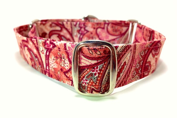 """1"""" / 2.5cm Pink Paisley Martingale Dog Collar by OurLifePlusDogs, $17.00"""