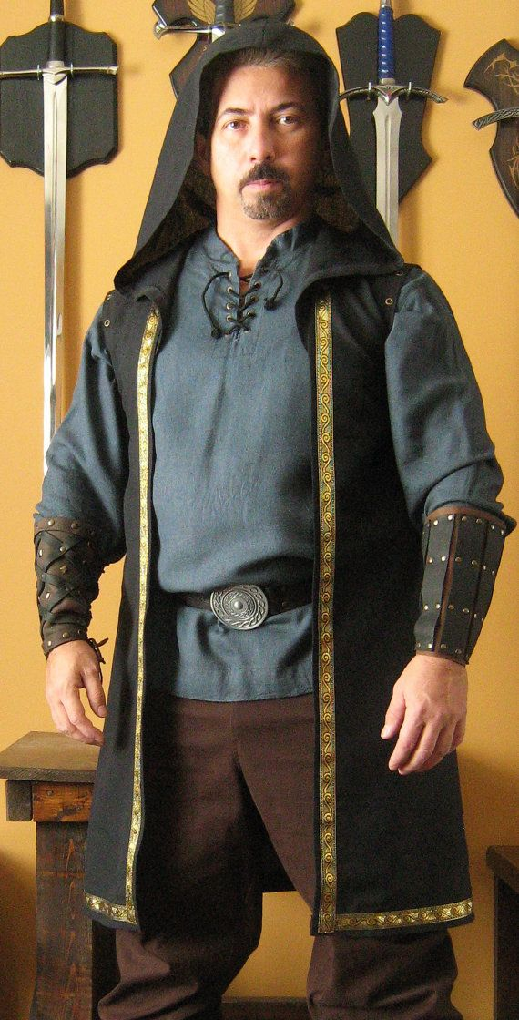 Medieval Celtic Wizard Short Hooded Coat Sleeveless Deluxe
