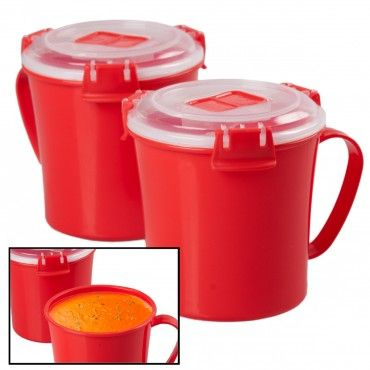 2 Red Microwave Soup Lidded Container Mugs –Heat & Eat In One!