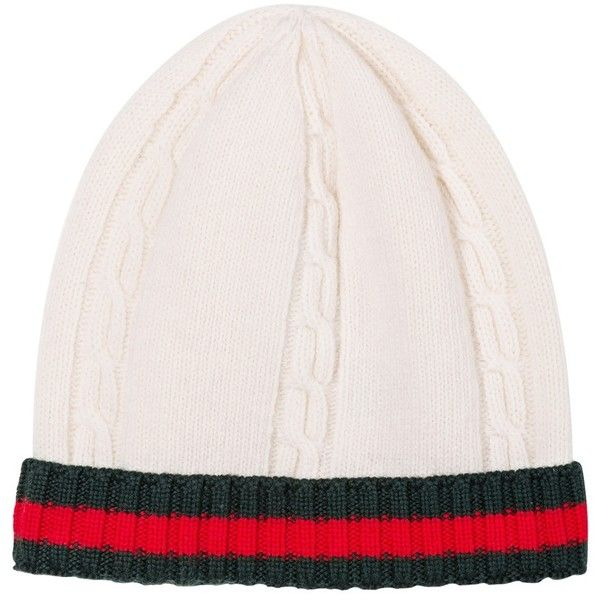 Gucci beanie (£81) ❤ liked on Polyvore featuring accessories, hats, beanie cap hat, cable beanie hat, cable hat, beanie hats and cable beanie