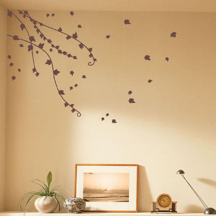 Wall Decals: Climbing Ivy Set in Light Brown