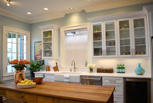 Cottage Kitchen with Arctic White Quartz, Core Ceramic Tile, Brentwood Recessed Panel Cabinets
