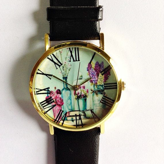 Shabby Chic Floral Watch Vintage Style Leather Watch by FreeForme, $10.00