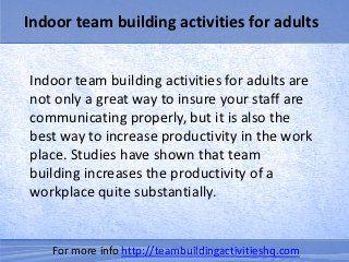 Indoor team building activities for adults