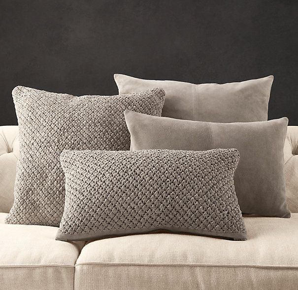 Restoration Hardware is running a sale on these! Suede Pillow Covers - Fog