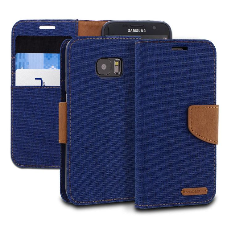 Galaxy S7 Edge Case Pocket Diary Canvas Wallet Cover - ModeBlu
