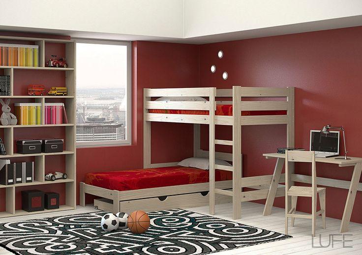 Ambiente LUFE cama mezanina individual en L. #MueblesLUFE #MueblesDeMadera #MueblesBaratos #Cama #Camas #Litera #CamasDeMadera #DIY